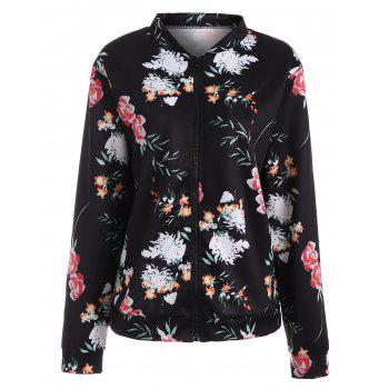Long Sleeve Zip Up Floral Jacket - BLACK XL