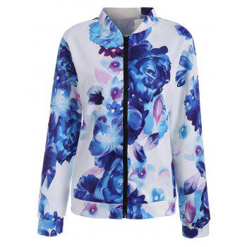 Long Sleeve Floral Zip Up Jacket - BLUE L