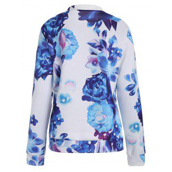 Long Sleeve Floral Zip Up Jacket - L L