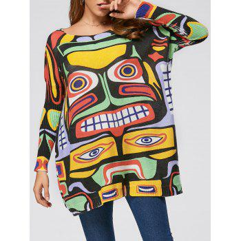 Cartoon Pattern Drop Shoulder Pullover Sweater