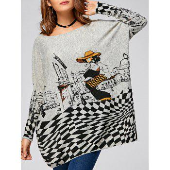 Cartoon Geometric Drop Shoulder Ribbed Pullover Sweater