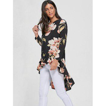 Floral Chiffon Floral High Low Top - Noir XL