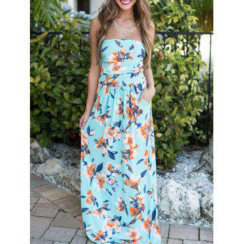 Strapless Floral Evening Dress with Pocket