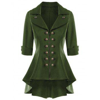 Double Breasted Short Flare Trench Coat - ARMY GREEN ARMY GREEN