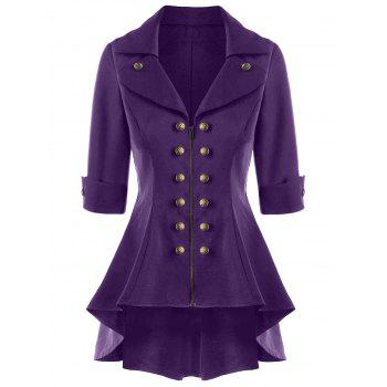 Double Breasted Short Flare Trench Coat - PURPLE PURPLE
