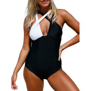 Color Block Criss Cross Swimsuit - S S