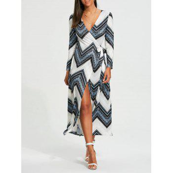 Chevron Print Long Sleeve Maxi Wrap Dress - WHITE 2XL