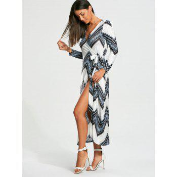 Chevron Print Long Sleeve Maxi Wrap Dress - S S