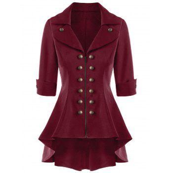 Double Breasted Short Flare Trench Coat - WINE RED WINE RED