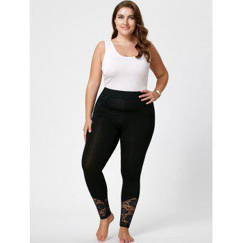 Plus Size Lace Insert Skinny Pants - 2XL 2XL