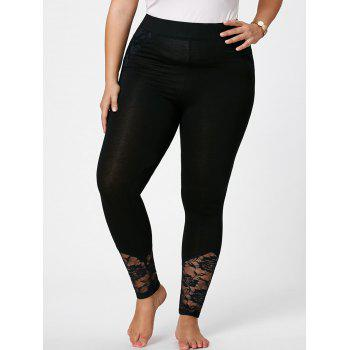 Plus Size Lace Insert Skinny Pants - BLACK XL