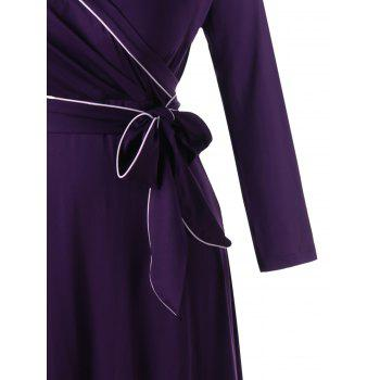 Long Sleeve Plus Size Formal Wrap Dress - CONCORD 5XL