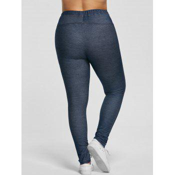 Plus Size Stretchy Pockets Skinny Pants - BLUE GRAY 5XL