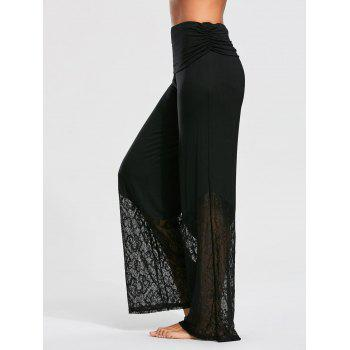 Palazzo Pants with Lace and Flounce Insert - S S