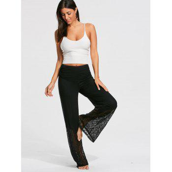 Palazzo Pants with Lace and Flounce Insert - M M