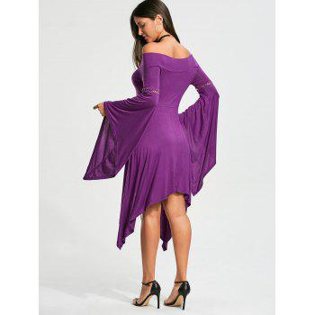 Long Sleeve Off Shoulder Handkerchief Dress - PURPLE PURPLE