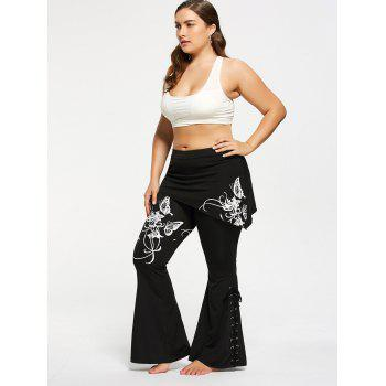 Criss Cross Butterfly Plus Size Flare Pants - WHITE WHITE