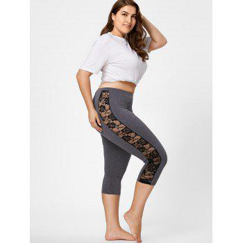 Lace Mesh Panel Plus Size Capri Leggings - 2XL 2XL