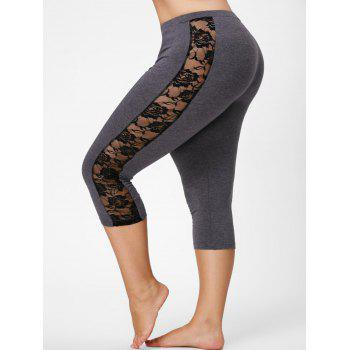 Lace Mesh Panel Plus Size Capri Leggings - GRAY GRAY