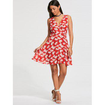 Sleeveless Floral Printed Skater Dress - RED M