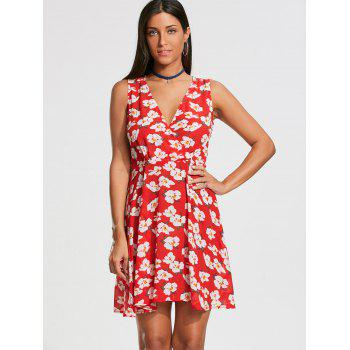 Sleeveless Floral Printed Skater Dress - RED RED