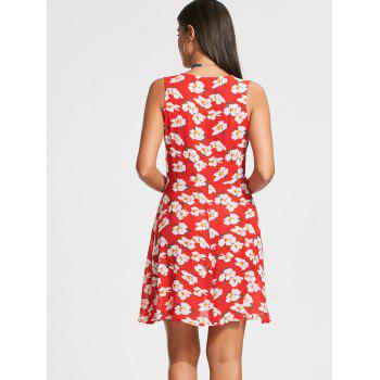 Sleeveless Floral Printed Skater Dress - RED 2XL