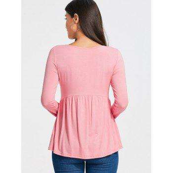 Long Sleeve Empire Waist Lace Up T-shirt - LIGHT PINK LIGHT PINK