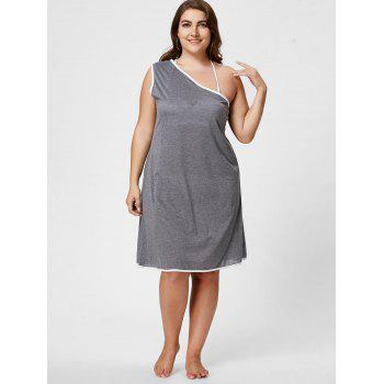 One Shoulder Plus Size Wrap Cover Up Dress - Gris 2XL