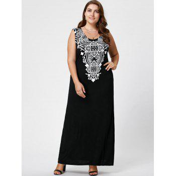 Plus Size Graphic Maxi Tank Dress, BLACK, XL in Plus Size Dresses ...