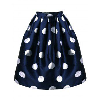 Polka Dot Mini A Line Skirt - CADETBLUE CADETBLUE