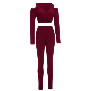 Cold Shoulder Crop Top and Skinny Pants - WINE RED WINE RED