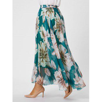 Plus Size Chiffon Floral Maxi Skirt - GREEN GREEN
