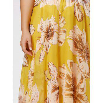 Plus Size Chiffon Floral Maxi Skirt - YELLOW YELLOW
