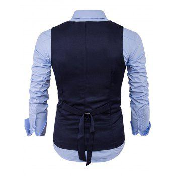 V Neck Edging Design Waistcoat - CADETBLUE XL