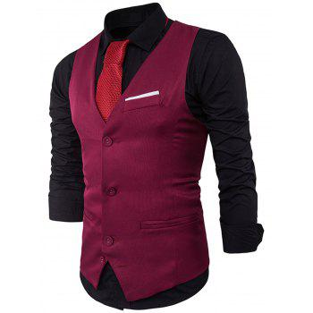 Color Block Edging Single Breasted Waistcoat - WINE RED WINE RED