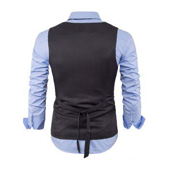 Color Block Edging Single Breasted Waistcoat - GRAY GRAY