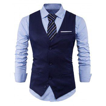 Color Block Edging Single Breasted Waistcoat - CADETBLUE CADETBLUE