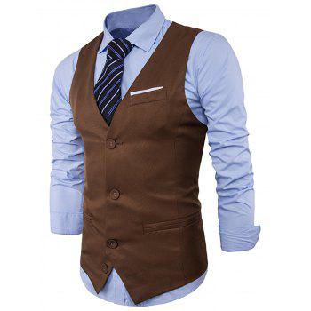 Color Block Edging Single Breasted Waistcoat - KHAKI KHAKI