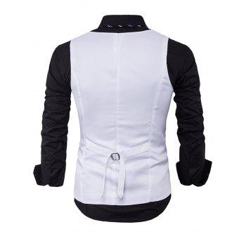 V Neck Edging Single Breasted Waistcoat - WHITE WHITE