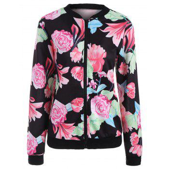 Full Zip Floral Jacket - BLACK BLACK