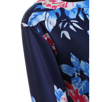 Floral Long Sleeve Jacket - PURPLISH BLUE PURPLISH BLUE