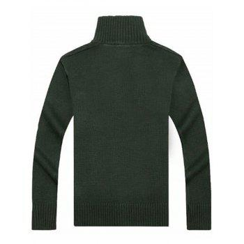 Cable Knit High Neck Sweater Cardigan - GREEN GREEN