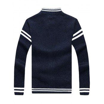 Zip Up Striped Sweater Cardigan - CADETBLUE CADETBLUE