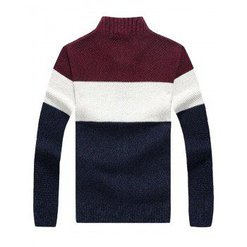 Color Block Stand Collar Sweater Cardigan - WINE RED WINE RED