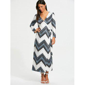 Chevron Print Long Sleeve Maxi Wrap Dress - WHITE WHITE