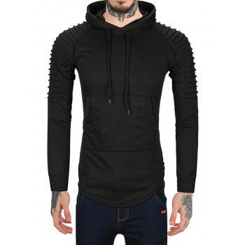 Sleeve Pleated Ripped Longline Hoodie - BLACK 2XL
