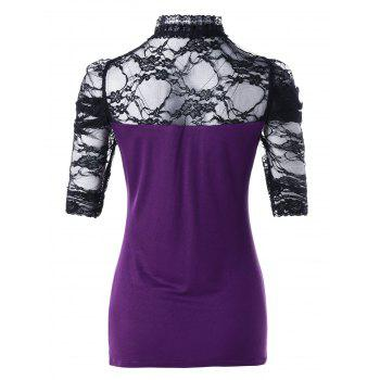 Lace Insert Cut Out T-shirt - PURPLE L