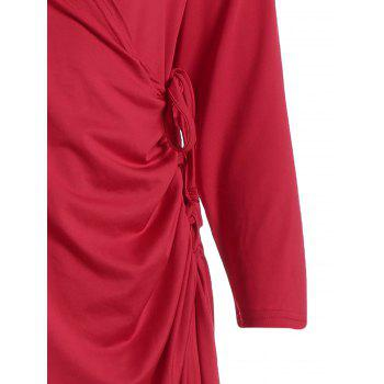 Robe fini au genou taille grand - Rouge 5XL