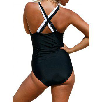 Color Block Criss Cross Swimsuit - BLACK L