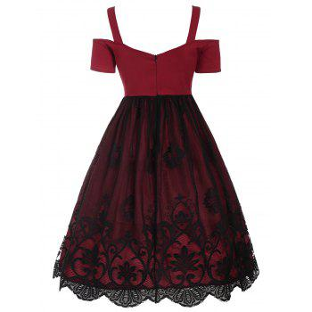 Vintage Lace Trim Fit and Flare Dress - RED RED